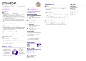 Marissa Mayer's résumé, re-created with AltaCV
