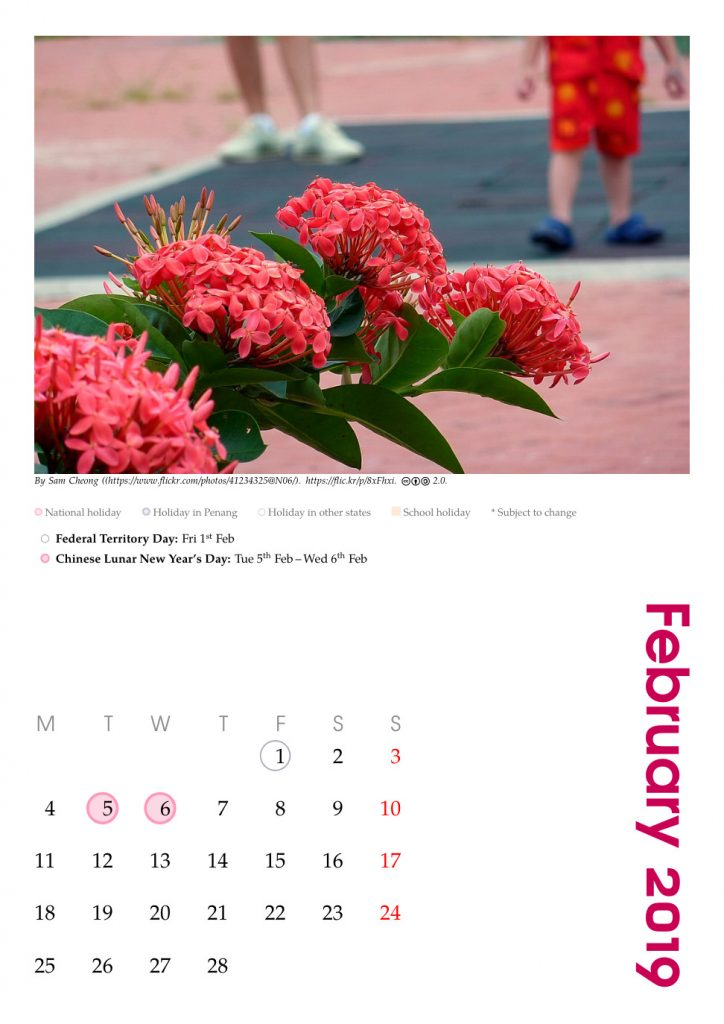 February 2019 calendar marked with Malaysian holidays, customised for Penang