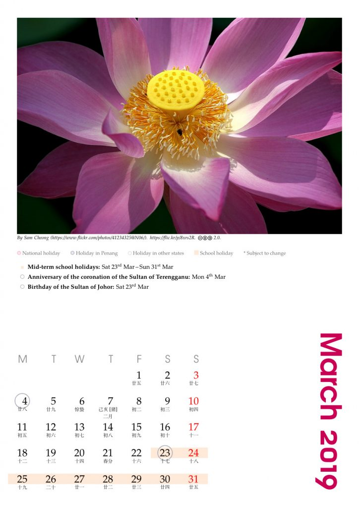 March 2019 calendar marked with Malaysian holidays and Chinese lunar calendar, customised for Penang